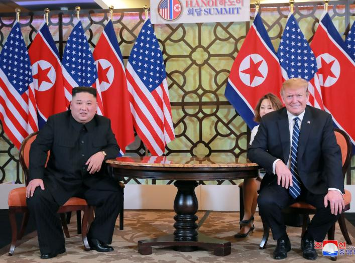 North Korea's leader Kim Jong Un and U.S. President Donald Trump meet for the second North Korea-U.S. summit in Hanoi, Vietnam, in this photo released on March 1, 2019 by North Korea's Korean Central News Agency (KCNA). KCNA via REUTERS ATTENTION EDITORS