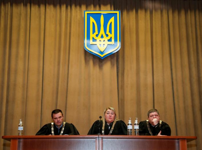 Judges attend a court hearing on appeal to annul comedian Volodymyr Zelenskiy's registration as presidential candidate in upcoming election in Kiev, Ukraine April 20, 2019. REUTERS/Vasily Fedosenko