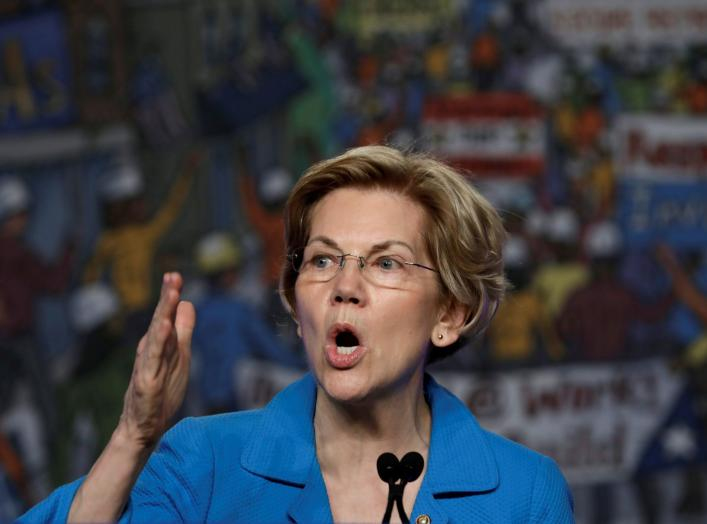 FILE PHOTO: Democratic U.S. presidential candidate Senator Elizabeth Warren (D-MA) speaks at the North America's Building Trades Unions (NABTU) 2019 legislative conference in Washington, U.S., April 10, 2019. To match Special Report USA-HOUSING/BILL REUTE