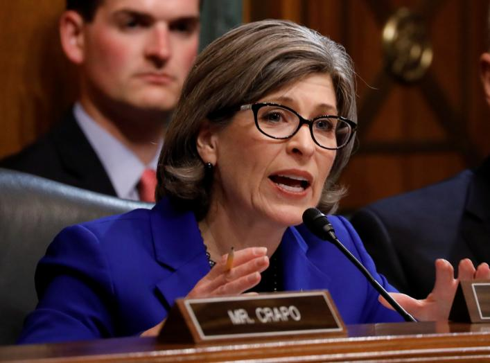 "U.S. Senator Joni Ernst (R-IA) asks a question as U.S. Attorney General William Barr testifies before a Senate Judiciary Committee hearing entitled ""The Justice Department's Investigation of Russian Interference with the 2016 Presidential Election"""