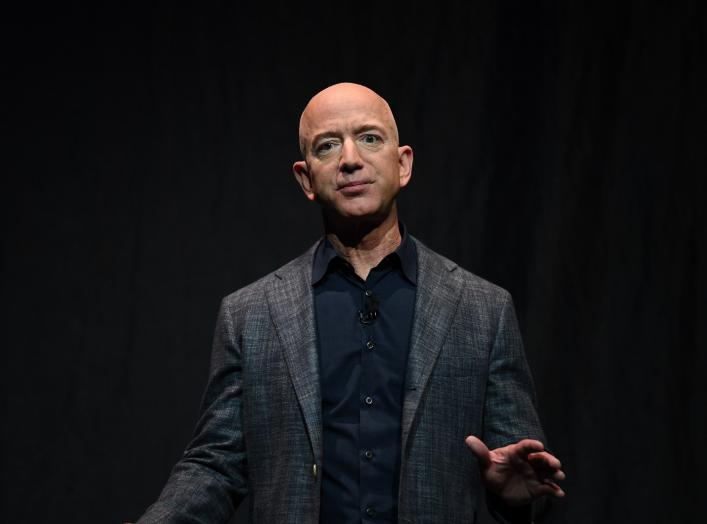 Founder, Chairman, CEO and President of Amazon Jeff Bezos speaks during an event about Blue Origin's space exploration plans in Washington, U.S., May 9, 2019. REUTERS/Clodagh Kilcoyne