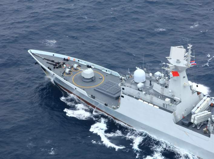 Chinese People's Liberation Army (PLA) Navy's guided-missile frigate Yueyang takes part in a China-Thailand joint naval exercise in waters off the southern port city of Shanwei, Guangdong province, China May 6, 2019.