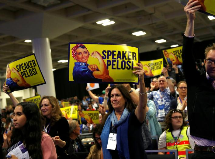 Supporters listen as House Speaker Nancy Pelosi (D-CA) speaks during the California Democratic Convention in San Francisco, California, U.S. June 1, 2019. REUTERS/Stephen Lam