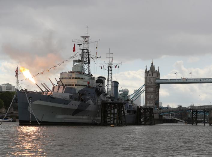 A British battleship that survived World War Two, the HMS Belfast, recreates the moment the first guns were fired in Normandy on June 6, 1944, marking the 75th anniversary of D-Day, in London, Britain June 6, 2019. REUTERS/Simon Dawson