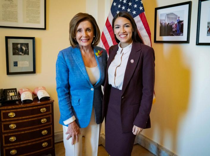 U.S. Speaker of the House Nancy Pelosi (D-CA) poses with Rep. Alexandria Ocasio-Cortez (D-NY) in a photo released by her office after they met in the Speaker's office at the U.S. Capitol in Washington, U.S. July 26, 2019. Office of House Speaker Nancy Pel