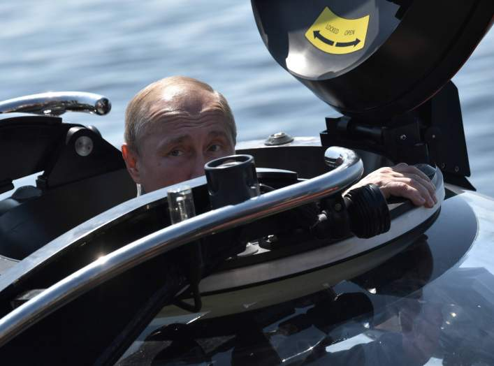 Russian President Vladimir Putin is seen before the submerging on board C-Explorer 3.11 bathyscaphe to inspect the Sch-308 Semga submarine, which sank in 1942, near the isle of Gogland in the Gulf of Finland in the Baltic Sea, Russia July 27, 2019.