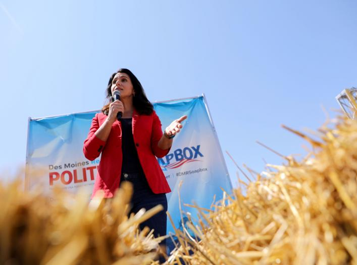 2020 Democratic U.S. presidential candidate Tulsi Gabbard speaks at the Iowa State Fair in Des Moines, Iowa, U.S., August 9, 2019. REUTERS/Scott Morgan