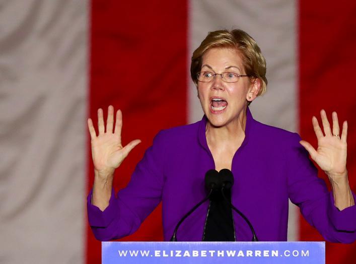 U.S. Senator and democratic presidential candidate Elizabeth Warren speaks at Washington Square Park in New York, New York, U.S. September 16, 2019. REUTERS/Lucas Jackson