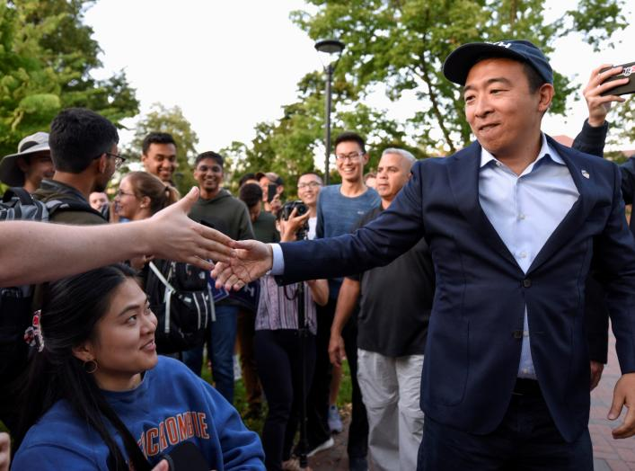 Democratic U.S. presidential candidate Andrew Yang greets supporters during a rally in Cambridge, Massachusetts, U.S. September 16, 2019. REUTERS/Faith Ninivaggi