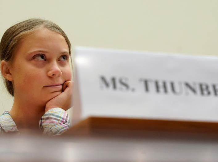 "Sixteen year-old Swedish climate activist Greta Thunberg testifies at a House Foreign Affairs subcommittee and House Select Climate Crisis Committee joint hearing on ""Voices Leading the Next Generation on the Global Climate Crisis"""