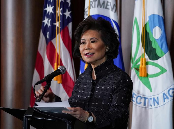 U.S. Department of Transportation Secretary Elaine Chao speaks during a press conference on the One National Program Rule on federal preemption of state fuel economy standards at EPA Headquarters in Washington, U.S., September 19, 2019. REUTERS/Sarah Silb