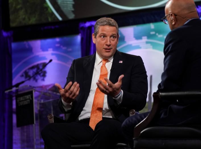 "2020 Democratic presidential candidate Rep. Tim Ryan (D-OH) and MSNBC's Ali Velshi participate in the ""Climate Forum 2020,"" at Georgetown University's Gaston Hall in Washington, U.S., September 19, 2019. REUTERS/Sarah Silbiger"