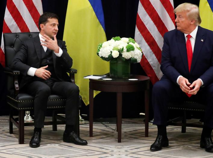 Ukraine's President Volodymyr Zelenskiy speaks as he and U.S. President Donald Trump hold a bilateral meeting on the sidelines of the 74th session of the United Nations General Assembly (UNGA) in New York City, New York, U.S., September 25, 2019. REUTERS