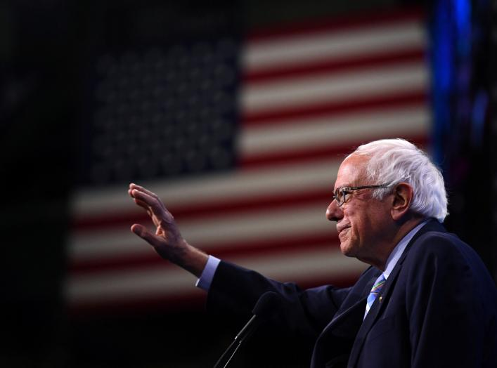 Democratic 2020 U.S. presidential candidate and U.S. Senator Bernie Sanders (D-VT) takes the stage at the New Hampshire Democratic Party state convention in Manchester, New Hampshire, U.S. September 7, 2019. REUTERS/Gretchen Ertl