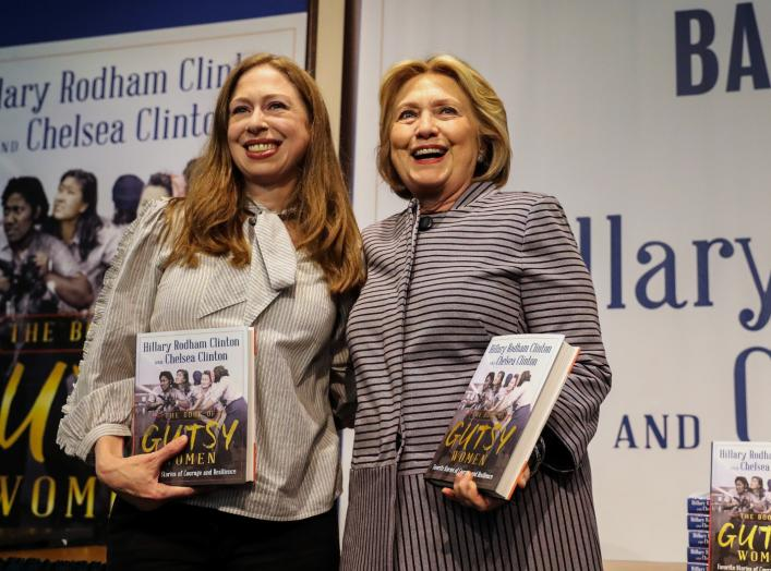 "Hillary Clinton and Chelsea Clinton arrive for an event for their new book ""The Book of Gutsy Women"" in the Manhattan borough of New York City, New York, U.S., October 3, 2019. REUTERS/Jeenah Moon"