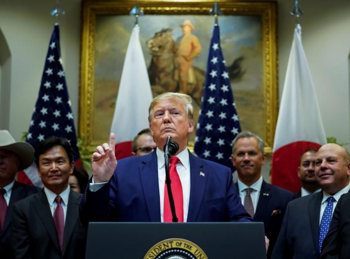 U.S. President Donald Trump speaks about Turkey and Syria during a formal signing ceremony for the U.S.-Japan Trade Agreement at the White House in Washington, October 7, 2019. REUTERS/Kevin Lamarque