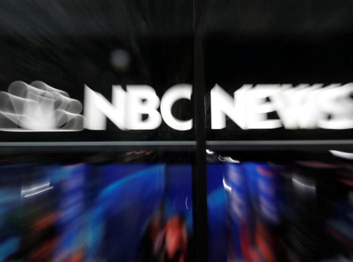 An NBC News sign and logo are seen outside the NBC News Today Show studios at Rockefeller Center in New York City, New York, U.S., October 9, 2019. Picture taken with zoom lens. REUTERS/Mike Segar