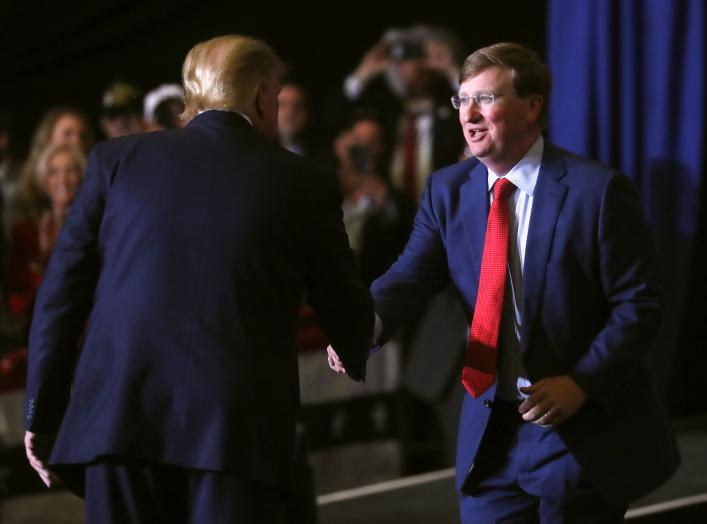 U.S. President Donald Trump introduces Mississippi Republican candidate for governor, Lieutenant Governor Tate Reeves during a campaign rally in Tupelo, Mississippi, U.S., November 1, 2019. REUTERS/Leah Millis