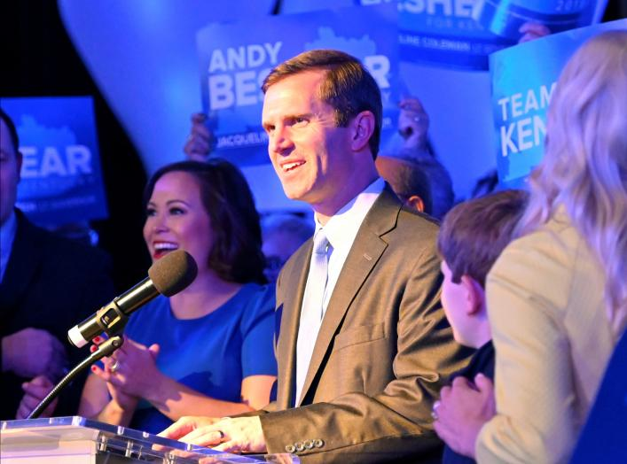Kentucky's Attorney General Andy Beshear, running for governor against Republican incumbent Matt Bevin, reacts to statewide election results at his watch party in Louisville, Kentucky, U.S., November 5, 2019. REUTERS/Harrison McClary