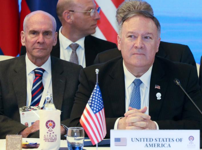 Former senior advisor Michael McKinley sits behind U.S. Secretary of State Mike Pompeo duirng a meeting with foreign ministers of Cambodia, Laos, Thailand, and Vietnam during the ASEAN Foreign Ministers' Meeting in Bangkok, Thailand August 1, 2019.