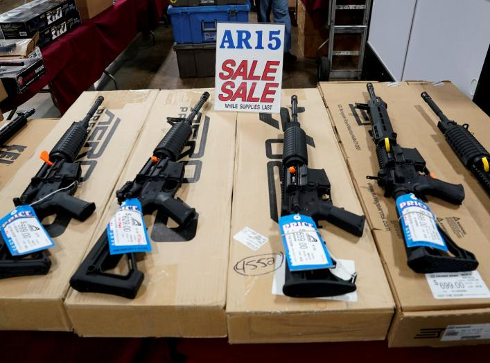AR-15 rifles are displayed for sale at the Guntoberfest gun show in Oaks, Pennsylvania, U.S., October 6, 2017. REUTERS/Joshua Roberts