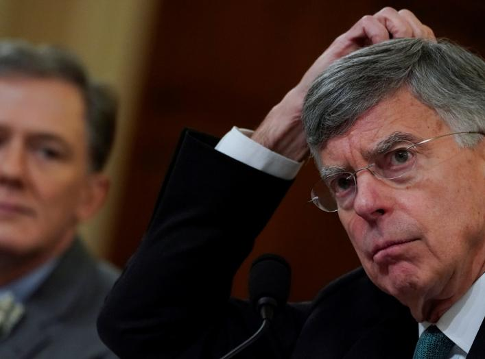 Ambassador Bill Taylor, charge d'affaires at the U.S. embassy in Ukraine; and George Kent, deputy assistant secretary of state for European and Eurasian Affairs, testify before a House Intelligence Committee hearing as part of the impeachment inquiry