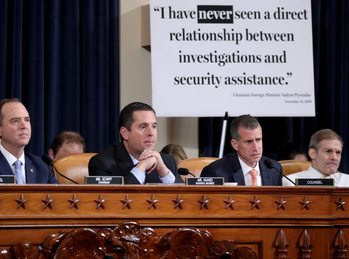 A sign sits behind House Intelligence Chairman Adam Schiff, ranking member Devin Nunes, Republican counsel Steve Castor and Rep. Jim Jordan (R-OH) during a House Intelligence Committee hearing featuring witness Marie Yovanovitch, former U.S. ambassador