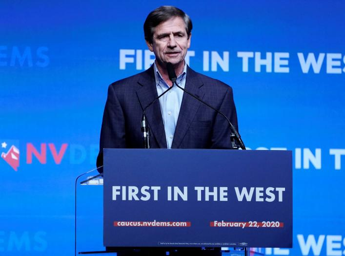Joe Sestak appears on stage at a First in the West Event at the Bellagio Hotel in Las Vegas, Nevada, U.S., November 17, 2019. REUTERS/Carlo Allegri