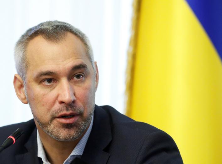 Ukrainian Prosecutor General Ruslan Ryaboshapka speaks during a news conference in Kiev, Ukraine, October 4, 2019. REUTERS/Valentyn Ogirenko