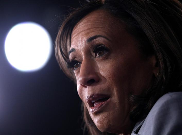 Democratic presidential candidate Senator Kamala Harris is interviewed in the spin room after the conclusion of the fifth 2020 campaign debate at the Tyler Perry Studios in Atlanta, Georgia, U.S., November 20, 2019. REUTERS/Christopher Aluka Berry