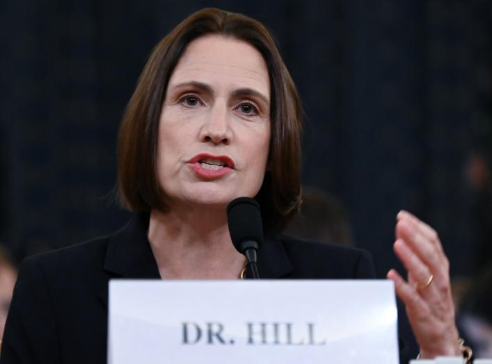 Fiona Hill, former senior director for Europe and Russia on the National Security Council, testifies to a House Intelligence Committee hearing as part of the impeachment inquiry into U.S. President Donald Trump on Capitol Hill in Washington, U.S.