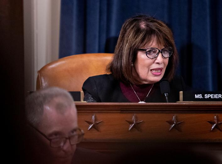 U.S. Representative Jackie Speier (D-CA) questions witnesses during a House Intelligence Committee impeachment inquiry hearing in Washington, D.C., U.S., November 21, 2019. Andrew Harrer/Pool via REUTERS
