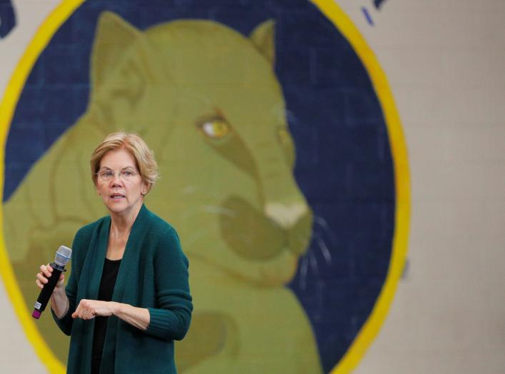 Democratic 2020 U.S. presidential candidate and U.S. Senator Elizabeth Warren (D-MA) speaks at a campaign town hall meeting in Manchester, New Hampshire, U.S., November 23, 2019. REUTERS/Brian Snyder