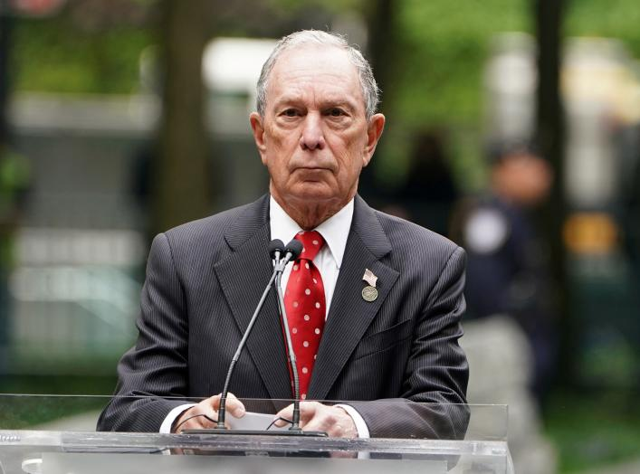 Former Mayor of New York Michael Bloomberg speaks at the dedication ceremony of the Memorial Glade at the 9/11 Memorial site in the Manhattan borough of New York, New York, U.S., May 30, 2019. REUTERS/Carlo Allegri