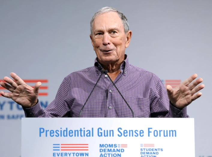 ormer New York City Mayor Michael R. Bloomberg speaks during the Presidential Gun Sense Forum in Des Moines, Iowa, U.S., August 10, 2019. REUTERS/Scott Morgan