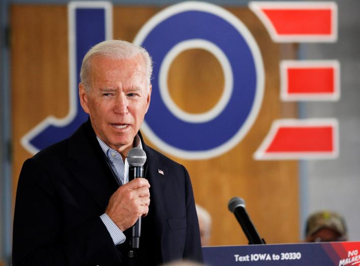 Democratic 2020 U.S. presidential candidate and former U.S. Vice President Joe Biden speaks during a meeting at Chickasaw Event Center in New Hampton, Iowa, U.S., December 5, 2019. REUTERS/Shannon Stapleton