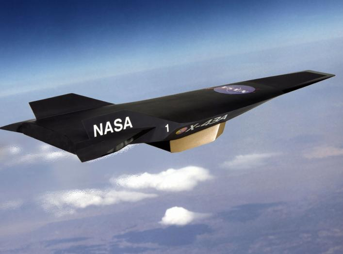 "An artist's conception of NASA's X-43A Hypersonic Experimental Vehicle, or ""Hyper-X"" in flight. The X-43A was developed to flight test a dual-mode ""ramjet/scramjet"" propulsion system at speeds from Mach 7 up to Mach 10 (7 to 10 times the speed of sound, w"