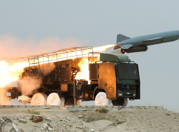 A Saegheh missile is fired from its launch vehicle during Iran's Revolutionary guards war games in the Hormuz area of southern Iran April 25, 2010. REUTERS/Mehdi Marizad/Fars News (IRAN - Tags: POLITICS MILITARY)