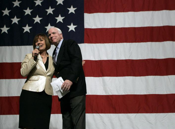 Republican Senate candidate Sharron Angle (L) introduces U.S. Senator John McCain (R-AZ) during a campaign rally at the Orleans hotel-casino in Las Vegas, Nevada October 29, 2010. REUTERS/Las Vegas Sun/ Sam Morris