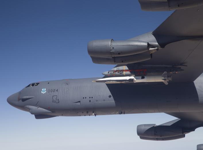 A U.S. Air Force B-52 carries the X-51 Hypersonic Vehicle out to the range for a launch test from Edwards AFB, California in this handout photo provided by the U.S. Air Force on May 1, 2013.