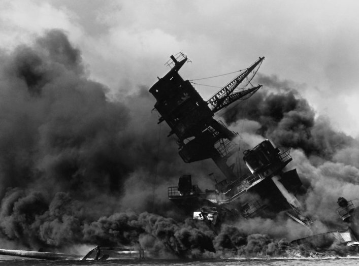 The USS Arizona (BB-39) burning after the Japanese attack on Pearl Harbor, 7 December 1941. Franklin D. Roosevelt Library.