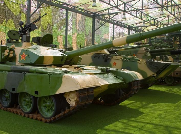 "A Chinese Type 99 Main Battle Tank on display at the Beijing Military Museum as part of the ""Our troops towards the sky"" exhibition."