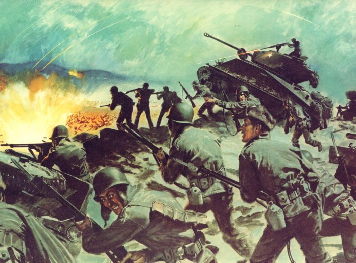 Illustration cropped from a U.S. Army poster depicting the Battle of Chipyong-Ni, a part of the Korean War. Public domain.