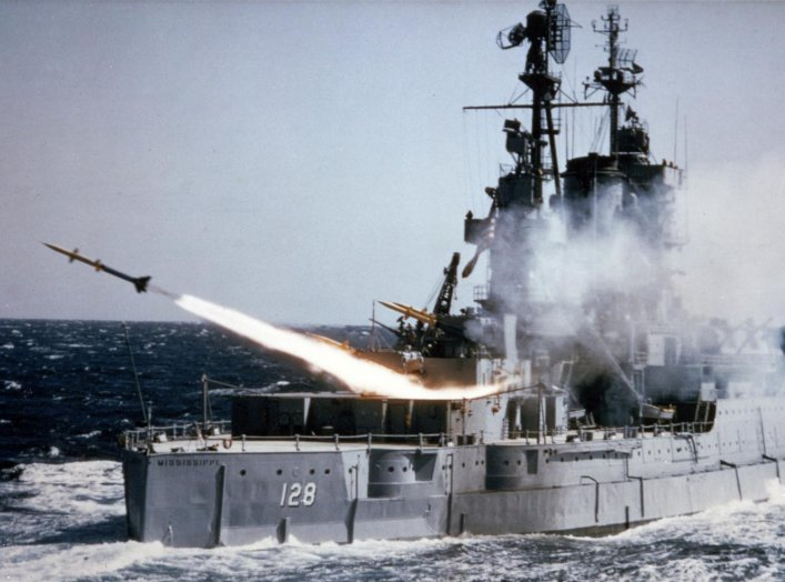 The U.S. Navy auxiliary USS Mississippi (EAG-128) fires an SAM-N-7 Terrier surface-to-air missile during at-sea tests, circa 1953-55. U.S. Navy.