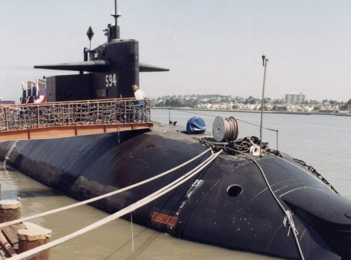 The Thresher/Permit-class submarine USS Permit (SSN-594) is shown at Mare Island Naval Shipyard on the date of her decommission on 22 Jul 91. U.S. Navy.
