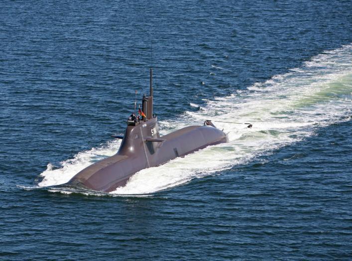 Luftbild vom U-Boot (U 34) der Klasse 212A in Fahrt . ©Bundeswehr/B.Wilke
