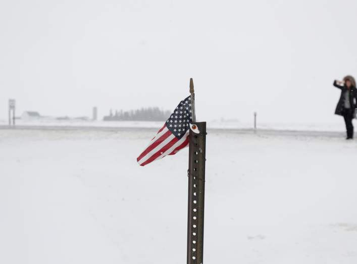 An American flag sits on a pole outside a campaign event for Democratic 2020 U.S. presidential candidate and former U.S. Vice President Joe Biden at the VFW Post 7920 in Osage, Iowa, U.S., January 22, 2020. REUTERS/Shannon Stapleton
