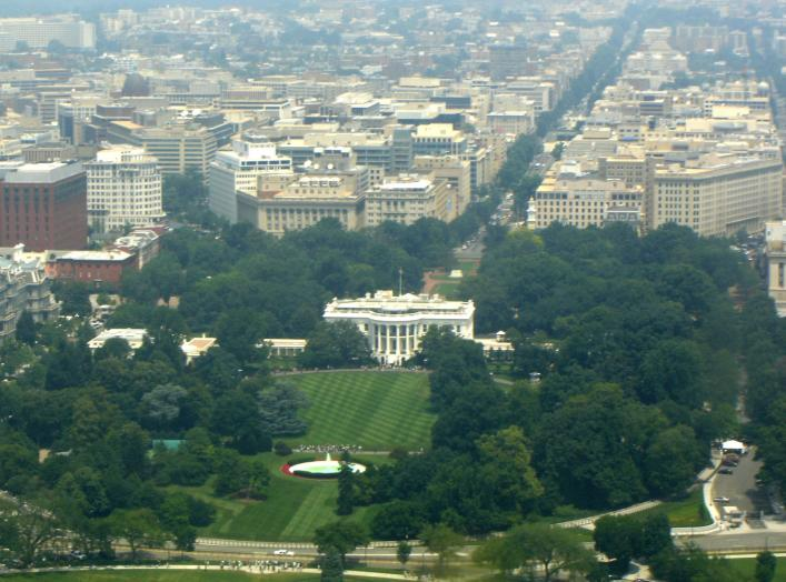 The White House as viewed from the Washington Monument. 15 July 2006. Nilington.