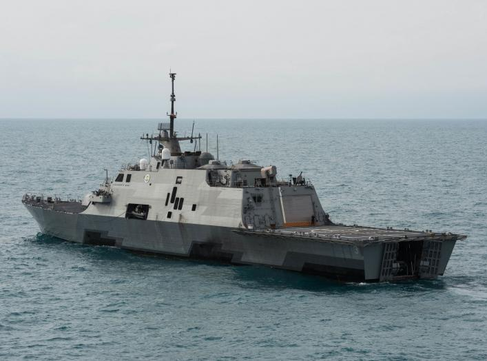 The U.S. Navy littoral combat ship USS Fort Worth (LCS-3) underway in the Java Sea near the location where the tail of AirAsia Flight QZ8501l was discovered. Fort Worth was supporting Indonesian-led efforts to locate the downed aircraft. Note the open ste