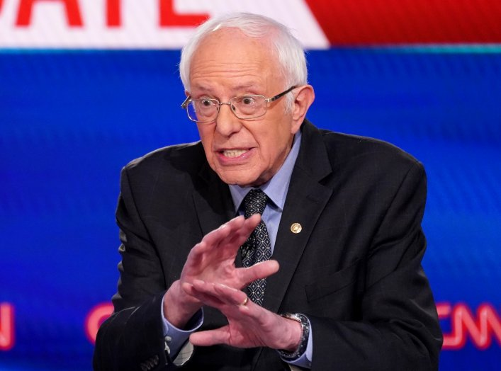 Democratic U.S. presidential candidate Senator Bernie Sanders speaks during the 11th Democratic candidates debate of the 2020 U.S. presidential campaign, held in CNN's Washington studios without an audience because of the global coronavirus pandemic, in W